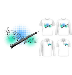 Mock up shirt with flute music instruments logo vector