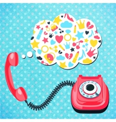 Old telephone chat concept vector image