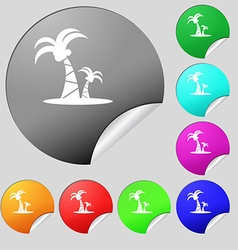 paml icon sign Set of eight multi colored round vector image