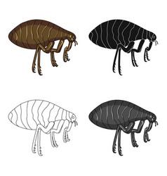 Parasitizing flea single icon in cartoonblack vector