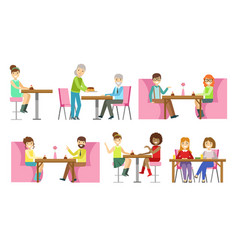 people sitting at tables eating desserts and vector image