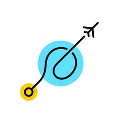plane fly up with trail from departure point vector image