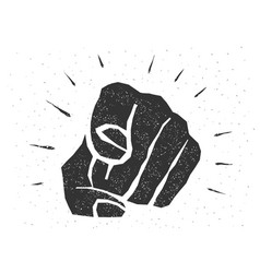retro human hand with finger pointing towards vector image