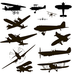 retro plane silhouette for logo black on white vector image