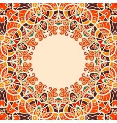 Round Frame Oriental Style Warm Color vector image