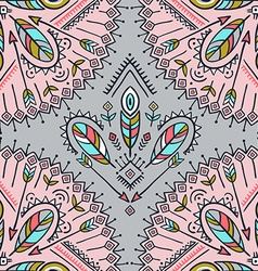 seamless pattern with ethnic arrows feathers vector image