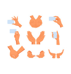 set isolated human hands gesture vector image