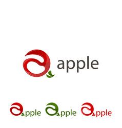 Set logo apple sign abstract apple vector