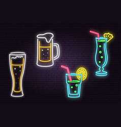 Set of neon beer and cocktail sign on brick wall vector