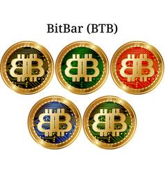 Set of physical golden coin bitbar btb vector