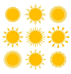 set of shiny bright yellow sun vector image
