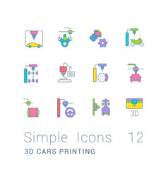 set simple line icons 3d cars printing vector image