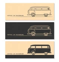 set vintage car silhouettes bus van wagon vector image