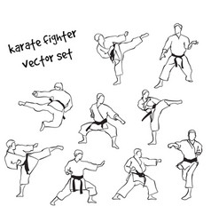 Silhouettes of karate fighters vector