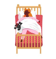 sleeping kid holding plush teddy bear in hands vector image