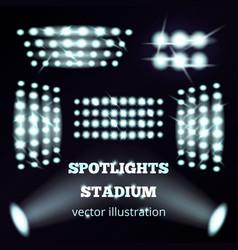 Stadium floodlights realistic set vector
