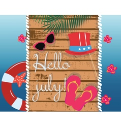 Summer card with glasses and flipflops vector