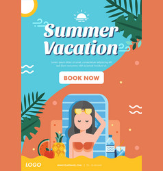 summer vacation poster layout vector image