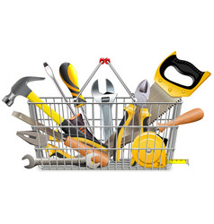 supermarket basket with instruments vector image vector image