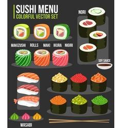 Sushi Menu Set vector