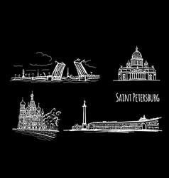 symbols saint petersburg russia sketch for vector image