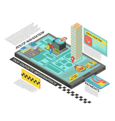 Taxi service online isometric infographics vector