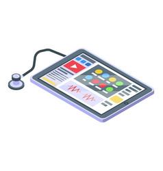 Telemedicine tablet icon isometric style vector