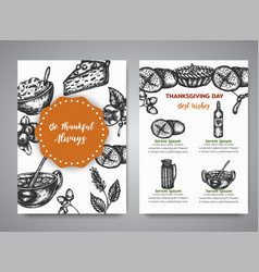 thanksgiving day cards with hand drawn vector image