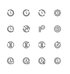 time related icon set in outline style vector image