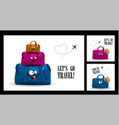 Time to travel lets travel set greeting cards vector