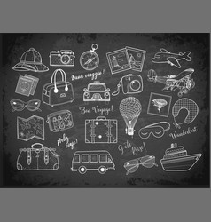 travel doodles on blackboard background vector image