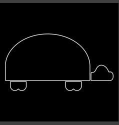 Turtle white color path icon vector