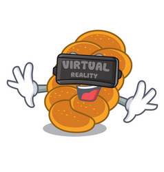 Virtual reality challah mascot cartoon style vector