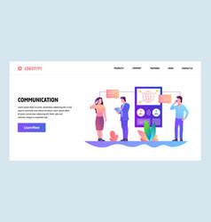 web site onboarding screens online messaging and vector image