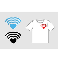 Wi fi Love Template to design t-shirts for vector image