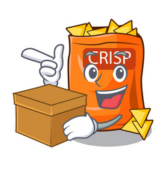 with box with box crispy potato chips in bowl vector image