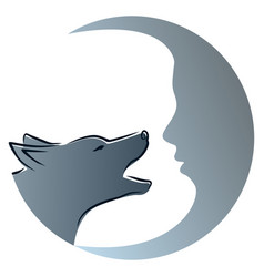 Wolf with moon vector