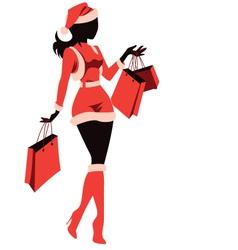 Woman Shopping for Christmas vector image