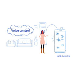 woman using personal smart voice assistant system vector image