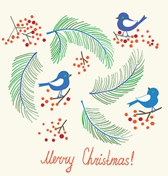 Christmas card with birds - retro design vector image vector image