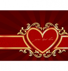 horizontal label with a heart vector image vector image