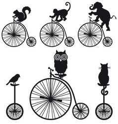 vintage bicycle with animals set vector image vector image