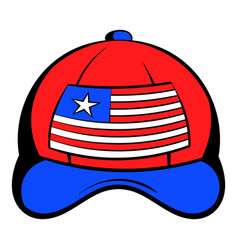 baseball in the usa flag colors icon cartoon vector image