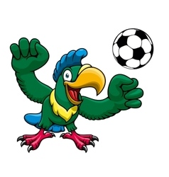Cartoon parrot player with soccer ball vector image vector image