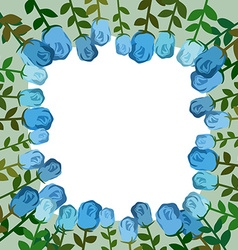 Decorative frame of blue roses Vintage background vector image vector image