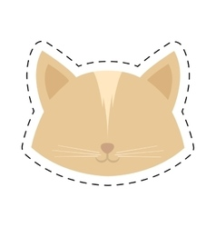 face cat female head line dotted vector image