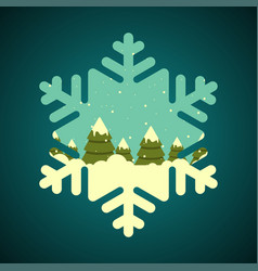 winter forest in snowflake shape border vector image