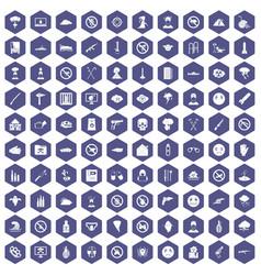 100 tension icons hexagon purple vector image
