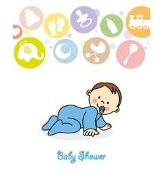 Baby boy crawling vector