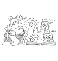 cats read books vector image